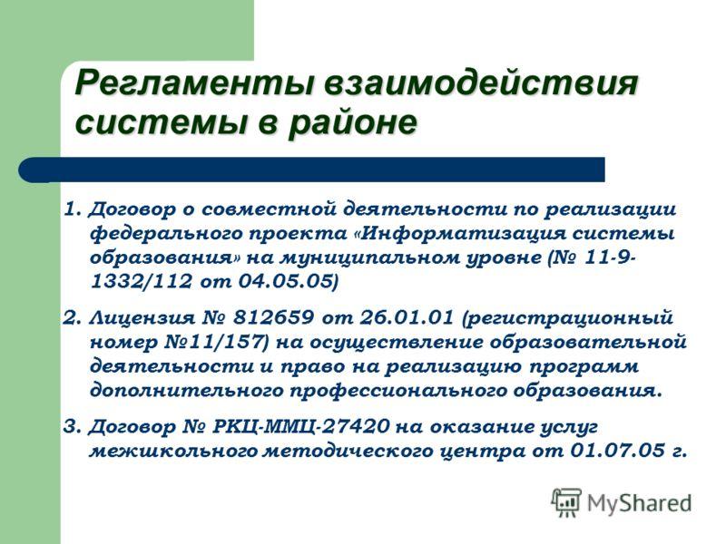 Регламенты взаимодействия системы в районе 1.Договор о совместной деятельности по реализации федерального проекта «Информатизация системы образования» на муниципальном уровне ( 11-9- 1332/112 от 04.05.05) 2.Лицензия 812659 от 26.01.01 (регистрационны