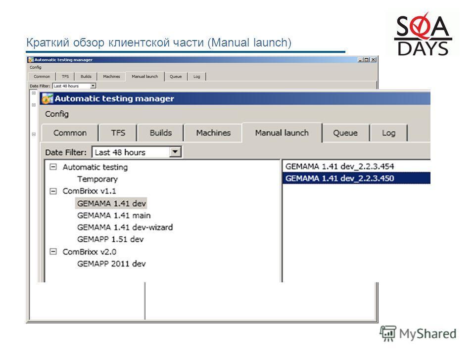Краткий обзор клиентской части (Manual launch)