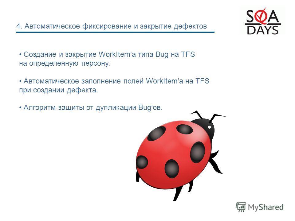 Создание и закрытие WorkItemа типа Bug на TFS на определенную персону. Автоматическое заполнение полей WorkItemа на TFS при создании дефекта. Алгоритм защиты от дупликации Bugов. 4. Автоматическое фиксирование и закрытие дефектов