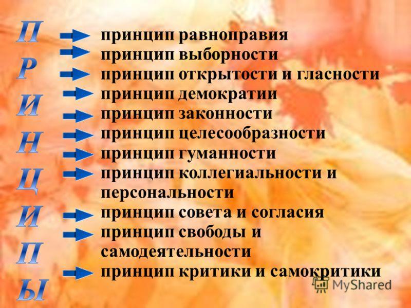 принцип равноправия принцип выборности принцип открытости и гласности принцип демократии принцип законности принцип целесообразности принцип гуманности принцип коллегиальности и персональности принцип совета и согласия принцип свободы и самодеятельно