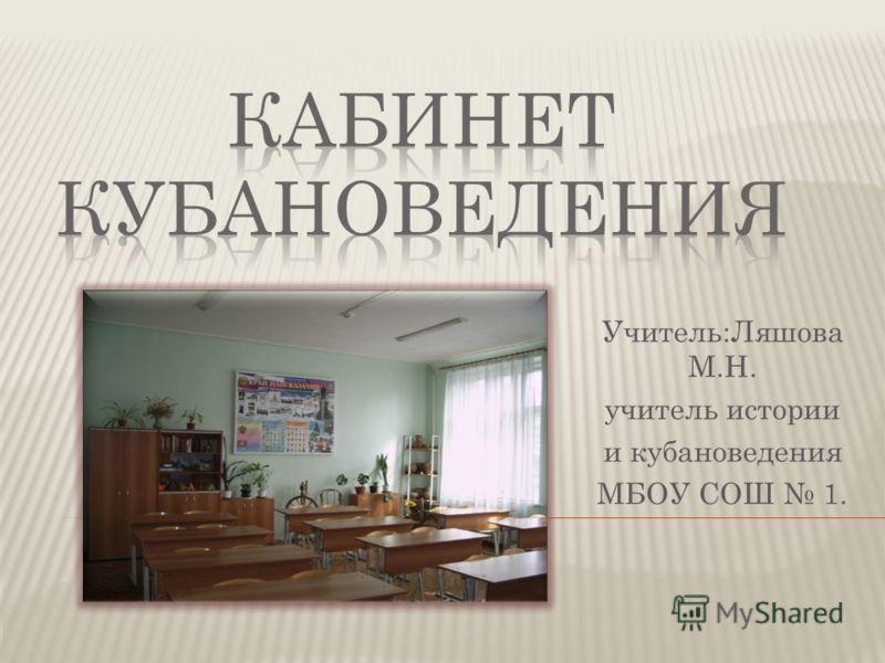 Учитель:Ляшова М.Н. учитель истории и кубановедения МБОУ СОШ 1.