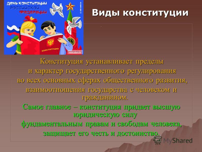 . Конституция устанавливает пределы Конституция устанавливает пределы и характер государственного регулирования и характер государственного регулирования во всех основных сферах общественного развития, во всех основных сферах общественного развития,
