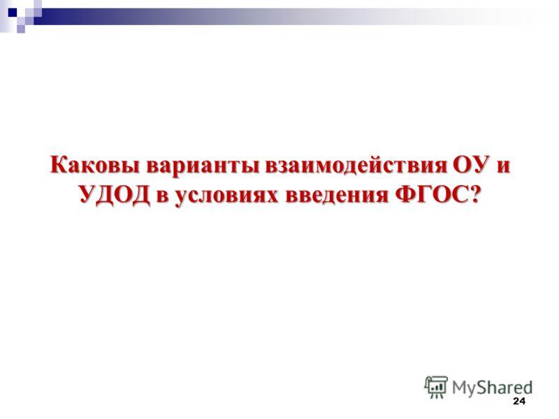 Каковы варианты взаимодействия ОУ и УДОД в условиях введения ФГОС? 24