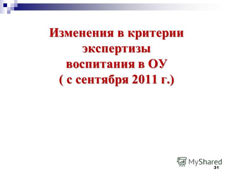 Изменения в критерии экспертизы воспитания в ОУ ( с сентября 2011 г.) 31