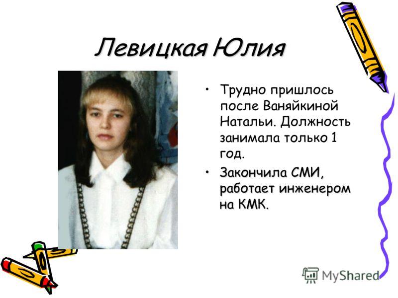 Левицкая Юлия Трудно пришлось после Ваняйкиной Натальи. Должность занимала только 1 год. Закончила СМИ, работает инженером на КМК.