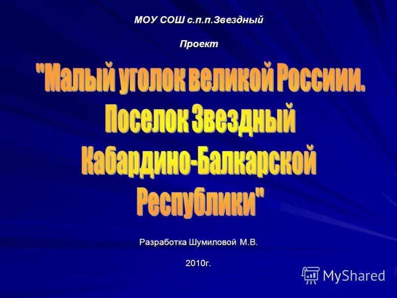 МОУ СОШ с.п.п.Звездный Проект Разработка Шумиловой М.В. 2010г.