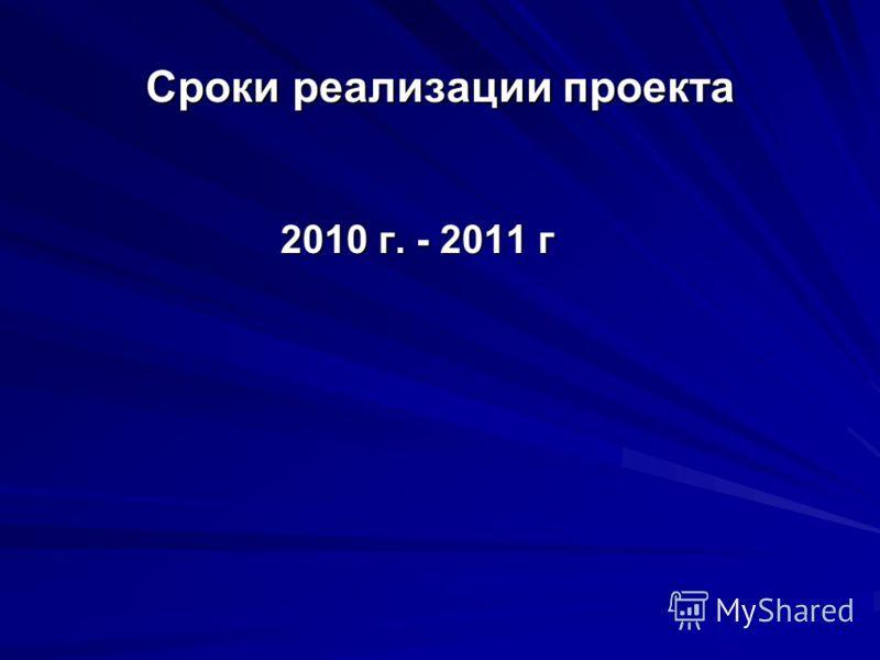 Сроки реализации проекта 2010 г. - 2011 г 2010 г. - 2011 г