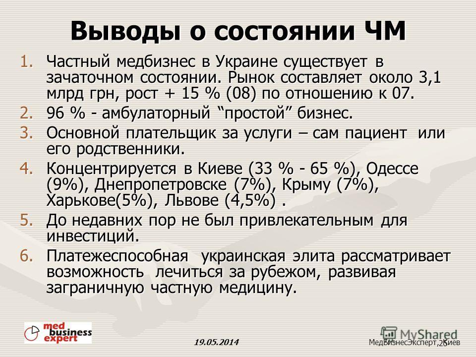 Рынок частной медицины ( без фармацевтического рынка). 19.05.2014 24 МедБизнесЭксперт, Киев