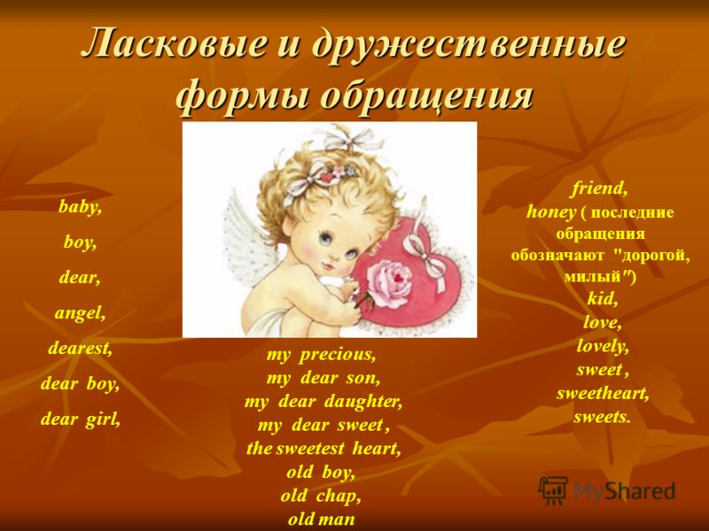 Ласковые и дружественные формы обращения baby, boy, dear, angel, dearest, dear boy, dear girl, friend, honey ( последние обращения обозначают