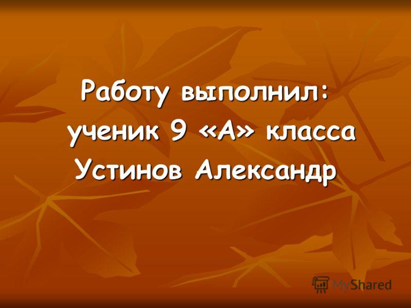 Работу выполнил: ученик 9 «А» класса ученик 9 «А» класса Устинов Александр