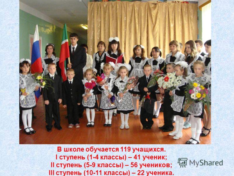 В школе обучается 119 учащихся. I ступень (1-4 классы) – 41 ученик; II ступень (5-9 классы) – 56 учеников; III ступень (10-11 классы) – 22 ученика.