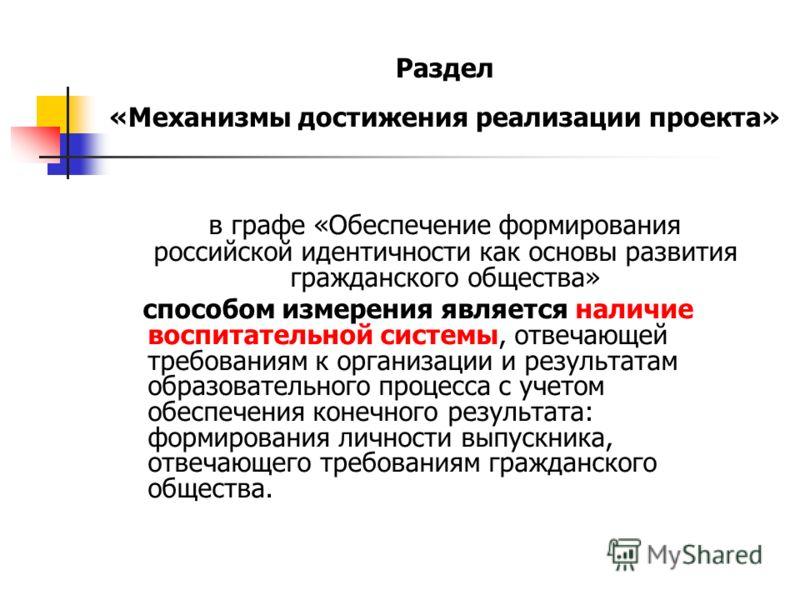 Раздел «Механизмы достижения реализации проекта» в графе «Обеспечение формирования российской идентичности как основы развития гражданского общества» способом измерения является наличие воспитательной системы, отвечающей требованиям к организации и р