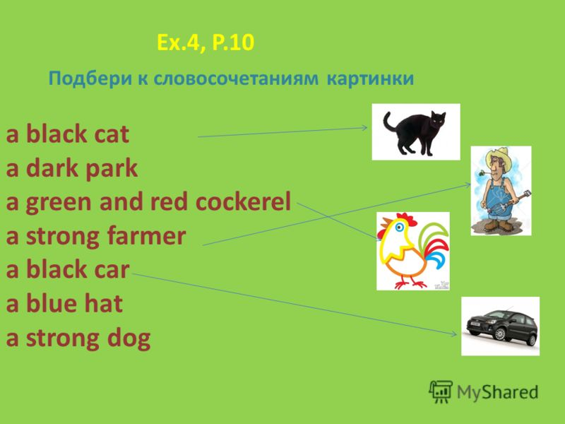 Ex.4, P.10 Подбери к словосочетаниям картинки a black cat a dark park a green and red cockerel a strong farmer a black car a blue hat a strong dog