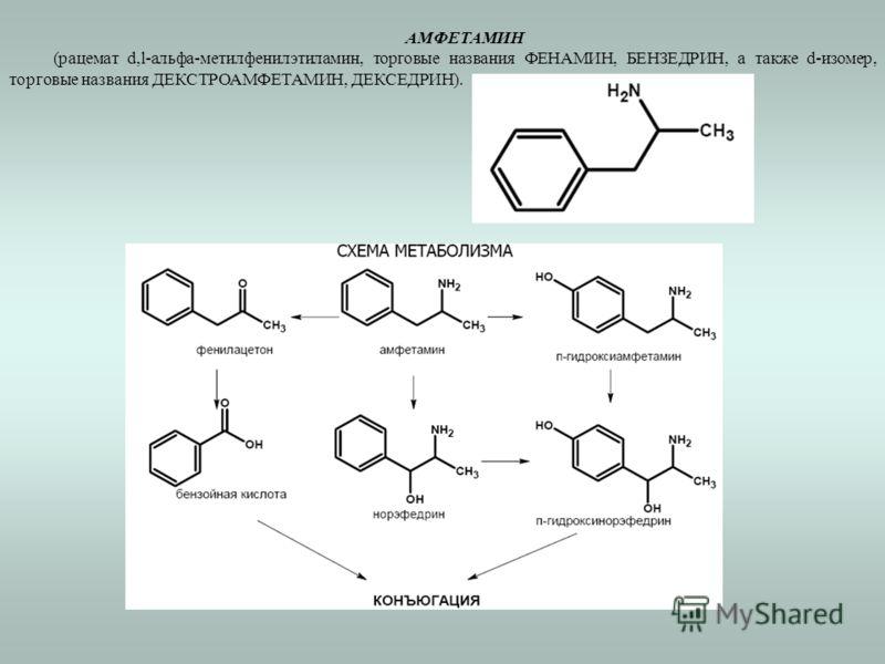 АМФЕТАМИН (рацемат d,l-альфа-метилфенилэтиламин, торговые названия ФЕНАМИН, БЕНЗЕДРИН, а также d-изомер, торговые названия ДЕКСТРОАМФЕТАМИН, ДЕКСЕДРИН).