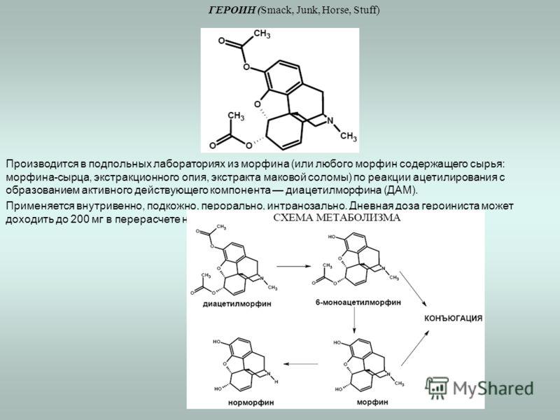 ГЕРОИН (Smack, Junk, Horse, Stuff) Производится в подпольных лабораториях из морфина (или любого морфин содержащего сырья: морфина-сырца, экстракционного опия, экстракта маковой соломы) по реакции ацетилирования с образованием активного действующего