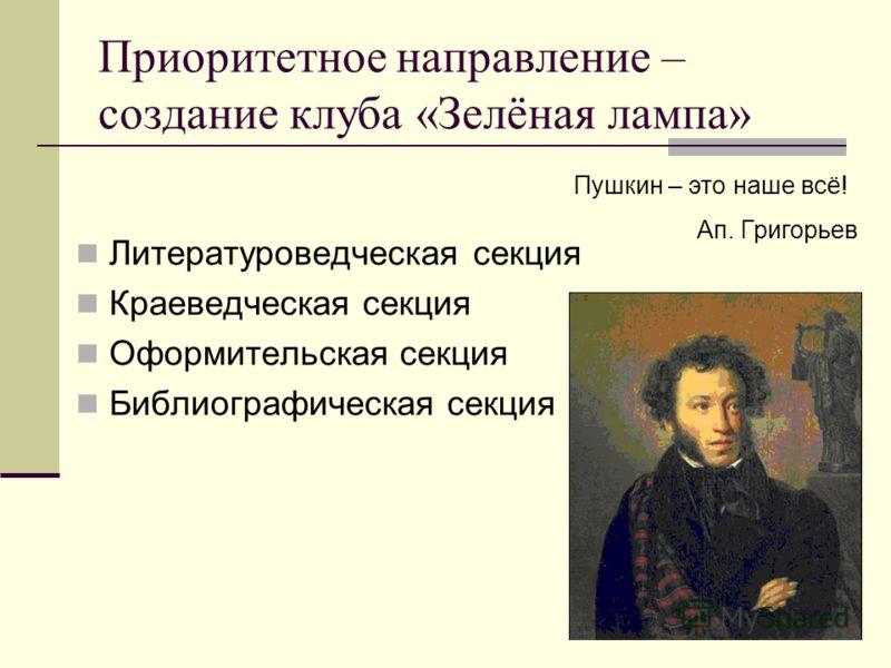 Приоритетное направление – создание клуба «Зелёная лампа» Литературоведческая секция Краеведческая секция Оформительская секция Библиографическая секция Пушкин – это наше всё! Ап. Григорьев