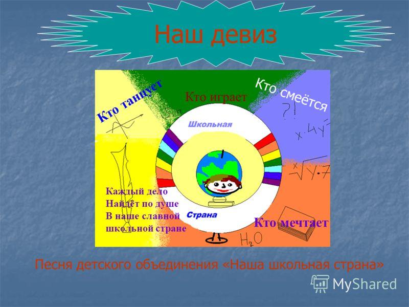 Кто танцует Кто играет Кто смеётся Кто мечтает Каждый дело Найдёт по душе В наше славной школьной стране Наш девиз Песня детского объединения «Наша школьная страна»
