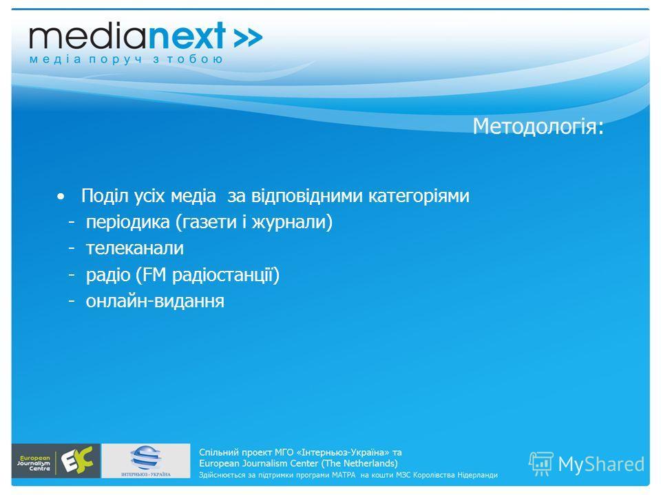 Методологія: Поділ усіх медіа за відповідними категоріями - періодика (газети і журнали) - телеканали - радіо (FM радіостанції) - онлайн-видання