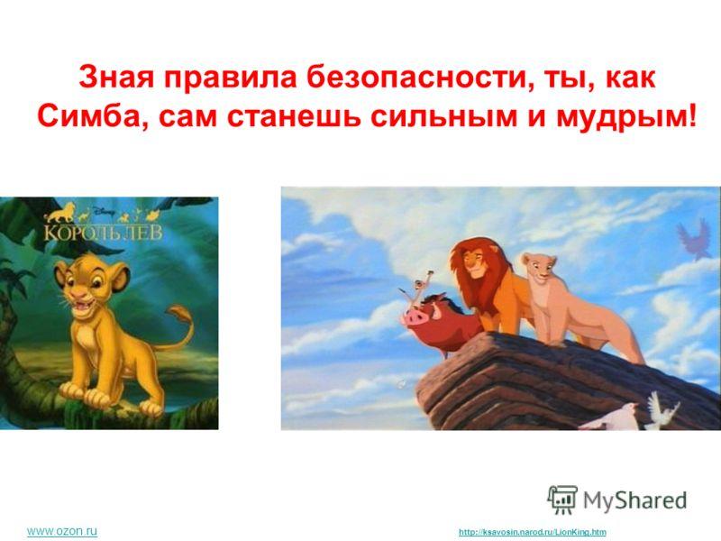 Зная правила безопасности, ты, как Симба, сам станешь сильным и мудрым! www.ozon.ru http://ksavosin.narod.ru/LionKing.htm