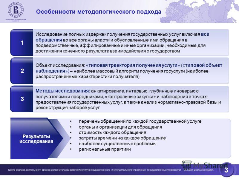 3 Объект исследования: «типовая траектория получения услуги» («типовой объект наблюдения») – наиболее массовый алгоритм получения госуслуги (наиболее распространенные характеристики получателя) 2 Методы исследования: анкетирование, интервью, глубинны