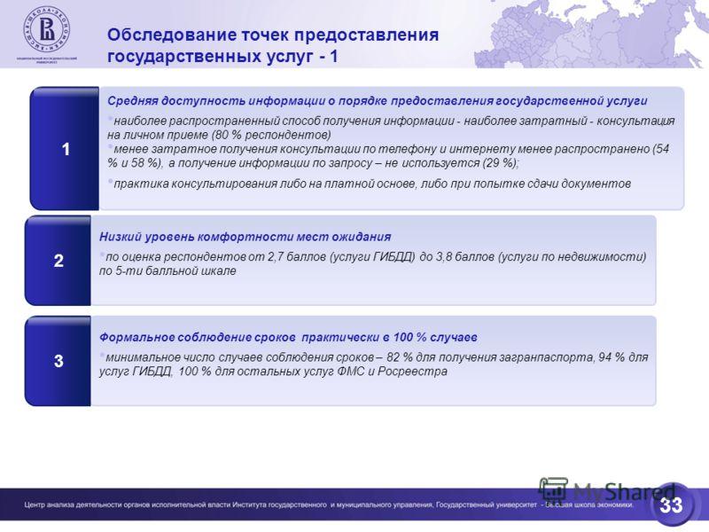 33 Обследование точек предоставления государственных услуг - 1 Средняя доступность информации о порядке предоставления государственной услуги наиболее распространенный способ получения информации - наиболее затратный - консультация на личном приеме (