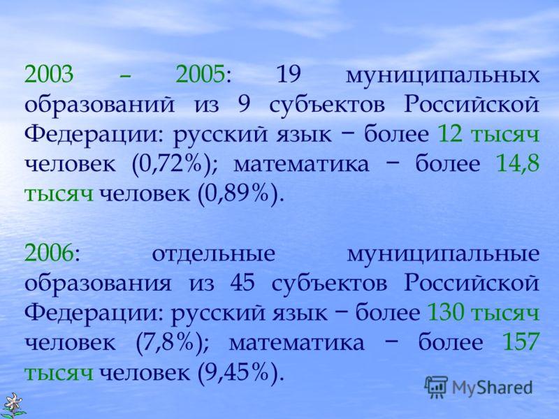 2003 – 2005: 19 муниципальных образований из 9 субъектов Российской Федерации: русский язык более 12 тысяч человек (0,72%); математика более 14,8 тысяч человек (0,89%). 2006: отдельные муниципальные образования из 45 субъектов Российской Федерации: р