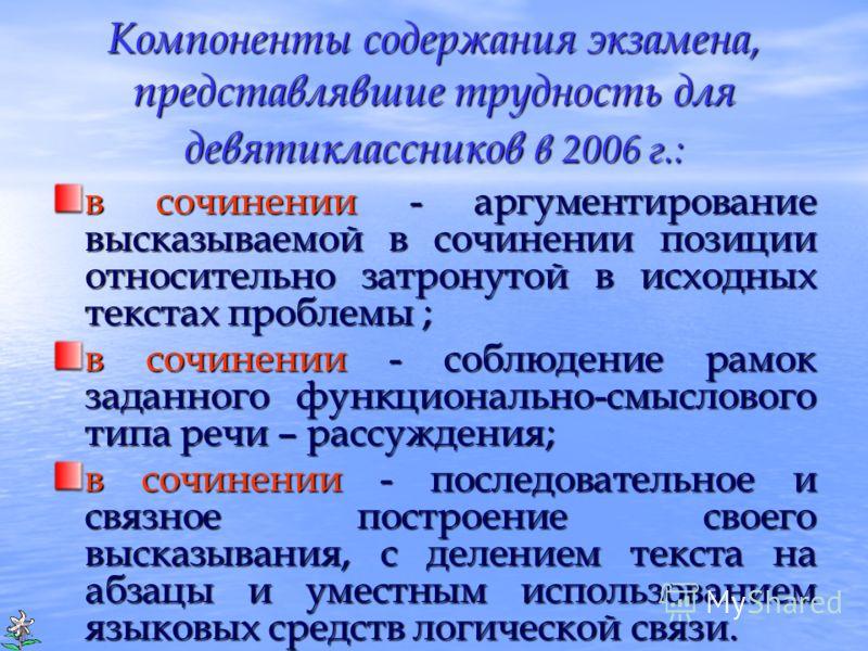 Компоненты содержания экзамена, представлявшие трудность для девятиклассников в 2006 г.: в сочинении - аргументирование высказываемой в сочинении позиции относительно затронутой в исходных текстах проблемы ; в сочинении - соблюдение рамок заданного ф