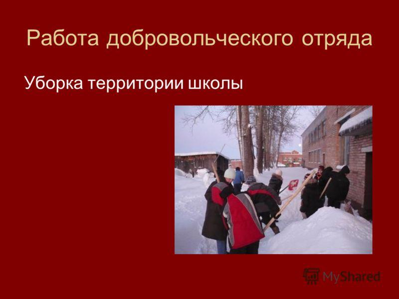 Работа добровольческого отряда Уборка территории школы