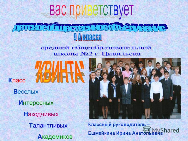 Класс Веселых Интересных Находчивых Талантливых Академиков Классный руководитель – Ешмейкина Ирина Анатольевна