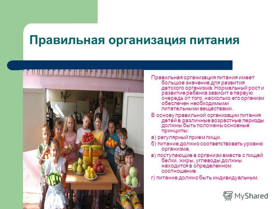 Правильная организация питания Правильная организация питания имеет большое значение для развития детского организма. Нормальный рост и развитие ребенка зависит в первую очередь от того, насколько его организм обеспечен необходимыми питательными веще
