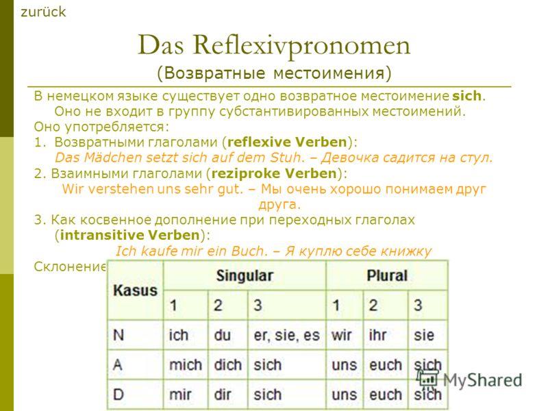 Das Reflexivpronomen (Возвратные местоимения) В немецком языке существует одно возвратное местоимение sich. Оно не входит в группу субстантивированных местоимений. Оно употребляется: 1.Возвратными глаголами (reflexive Verben): Das Mädchen setzt sich