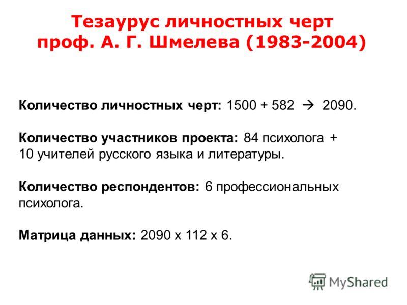 Количество личностных черт: 1500 + 582 2090. Количество участников проекта: 84 психолога + 10 учителей русского языка и литературы. Количество респондентов: 6 профессиональных психолога. Матрица данных: 2090 х 112 х 6. Тезаурус личностных черт проф.
