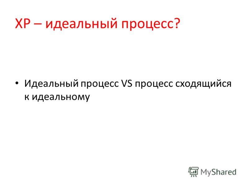 XP – идеальный процесс? Идеальный процесс VS процесс сходящийся к идеальному