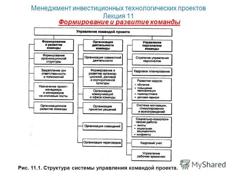 Менеджмент инвестиционных технологических проектов Лекция 11 Формирование и развитие команды Рис. 11.1. Структура системы управления командой проекта.