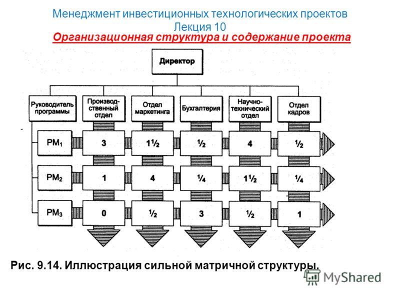 Менеджмент инвестиционных технологических проектов Лекция 10 Организационная структура и содержание проекта Рис. 9.14. Иллюстрация сильной матричной структуры.