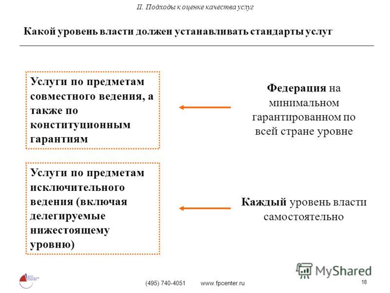 (495) 740-4051 www.fpcenter.ru 18 Какой уровень власти должен устанавливать стандарты услуг Услуги по предметам совместного ведения, а также по конституционным гарантиям Услуги по предметам исключительного ведения (включая делегируемые нижестоящему у