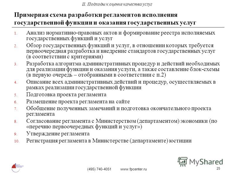 (495) 740-4051 www.fpcenter.ru 25 Примерная схема разработки регламентов исполнения государственной функции и оказания государственных услуг 1. Анализ нормативно-правовых актов и формирование реестра исполняемых государственных функций и услуг 2. Обз