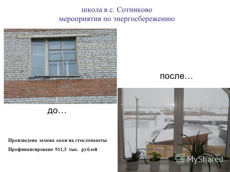 школа в с. Сотниково мероприятия по энергосбережению Произведена замена окон на стеклопакеты Профинансировано 911,3 тыс. рублей до… после…