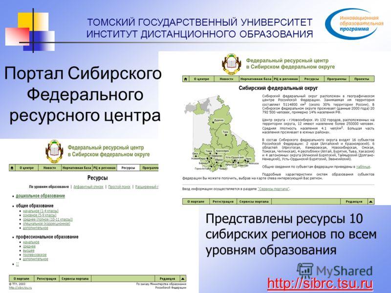 ТОМСКИЙ ГОСУДАРСТВЕННЫЙ УНИВЕРСИТЕТ ИНСТИТУТ ДИСТАНЦИОННОГО ОБРАЗОВАНИЯ Представлены ресурсы 10 сибирских регионов по всем уровням образования http://sibrc.tsu.ru Портал Сибирского Федерального ресурсного центра