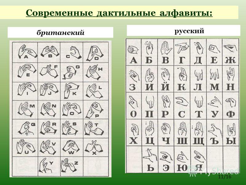 русский 11/16 британский Современные дактильные алфавиты: