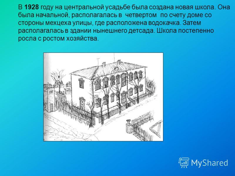 В 1928 году на центральной усадьбе была создана новая школа. Она была начальной, располагалась в четвертом по счету доме со стороны мехцеха улицы, где расположена водокачка. Затем располагалась в здании нынешнего детсада. Школа постепенно росла с рос