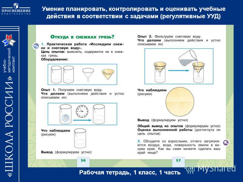 учебно- методический комплект Умение планировать, контролировать и оценивать учебные действия в соответствии с задачами (регулятивные УУД) Рабочая тетрадь, 1 класс, 1 часть