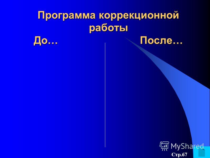Программа коррекционной работы До… После… Стр.67