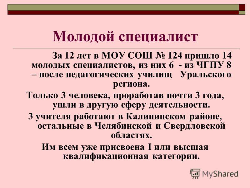 Молодой специалист За 12 лет в МОУ СОШ 124 пришло 14 молодых специалистов, из них 6 - из ЧГПУ 8 – после педагогических училищ Уральского региона. Только 3 человека, проработав почти 3 года, ушли в другую сферу деятельности. 3 учителя работают в Калин