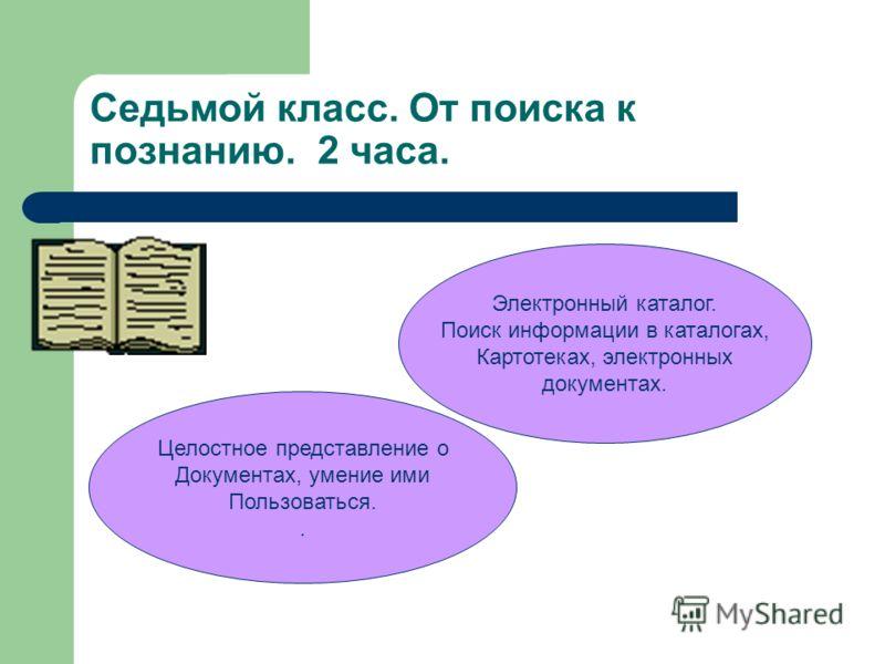 Седьмой класс. От поиска к познанию. 2 часа. Электронный каталог. Поиск информации в каталогах, Картотеках, электронных документах. Целостное представление о Документах, умение ими Пользоваться..