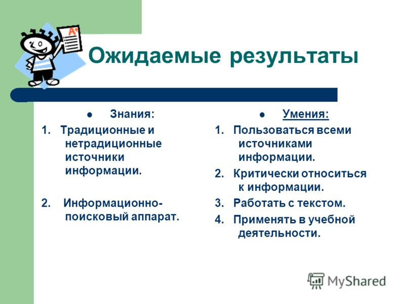 Ожидаемые результаты Знания: 1. Традиционные и нетрадиционные источники информации. 2. Информационно- поисковый аппарат. Умения: 1. Пользоваться всеми источниками информации. 2. Критически относиться к информации. 3. Работать с текстом. 4. Применять