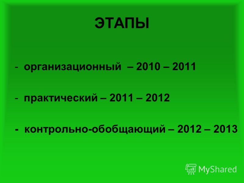 ЭТАПЫ -организационный – 2010 – 2011 -практический – 2011 – 2012 - контрольно-обобщающий – 2012 – 2013