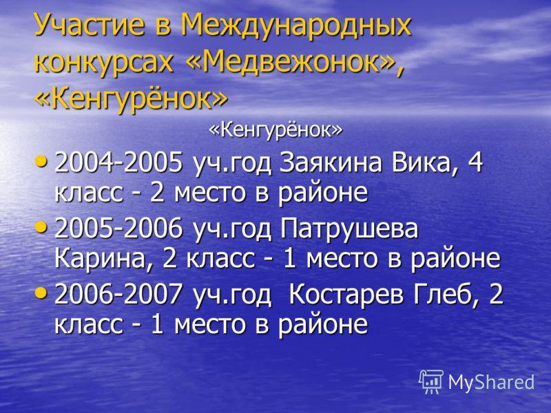 Участие в Международных конкурсах «Медвежонок», «Кенгурёнок» «Кенгурёнок» 2004-2005 уч.год Заякина Вика, 4 класс - 2 место в районе 2004-2005 уч.год Заякина Вика, 4 класс - 2 место в районе 2005-2006 уч.год Патрушева Карина, 2 класс - 1 место в район