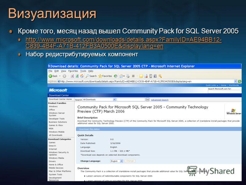 Визуализация Кроме того, месяц назад вышел Community Pack for SQL Server 2005 http://www.microsoft.com/downloads/details.aspx?FamilyID=AE94BB12- C839-4B4F-A71B-412FB3A0500E&displaylang=en http://www.microsoft.com/downloads/details.aspx?FamilyID=AE94B