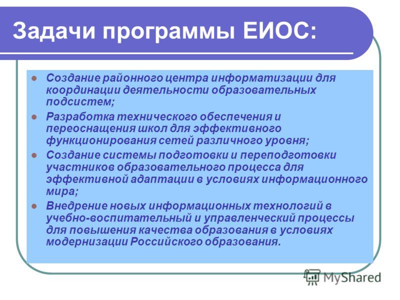 Задачи программы ЕИОС: Создание районного центра информатизации для координации деятельности образовательных подсистем; Разработка технического обеспечения и переоснащения школ для эффективного функционирования сетей различного уровня; Создание систе